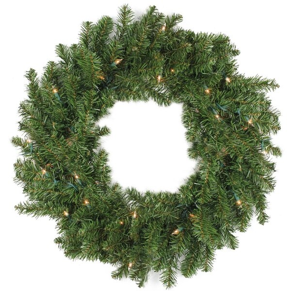 """30"""" Pre-Lit Canadian Pine Artificial Christmas Wreath - Clear Lights"""
