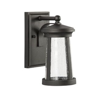 "Park Harbor PHEL3100LED Woodberry 11"" Tall Single Light LED Outdoor Wall Sconce with Seeded Glass Shade (Option: Espresso Finish)"