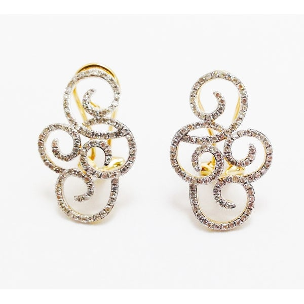 14K YELLOW GOLD SCROLL DESIGN CLIP ON EARRINGS