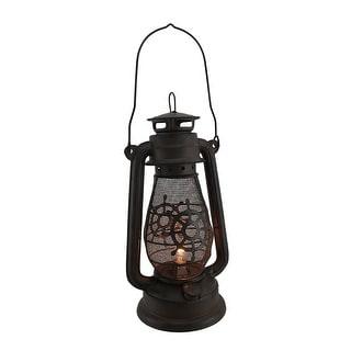 Rustic Nautical Wheel Vintage Style Hurricane Lantern Lamp 13 Inch