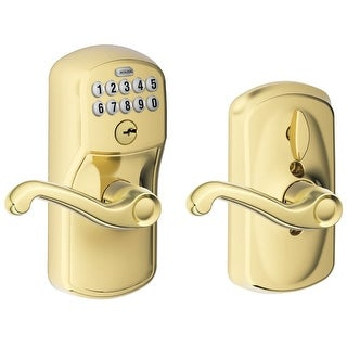 Schlage FE595-PLY-FLA  Flex Lock Keypad Entry Lock Leverset with Flair Lever from the Plymouth Collection