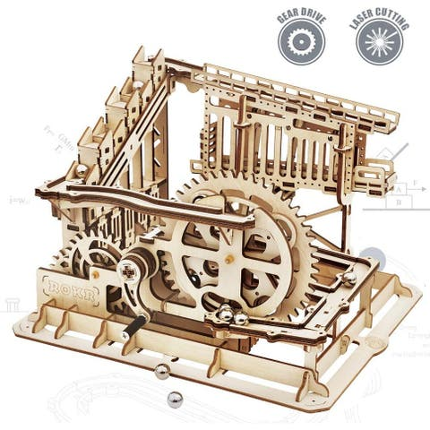 ROKR Marble Run Wooden Model Kits 3D Puzzle Mechanical Puzzles for Kids and Adults (Cog Coaster)