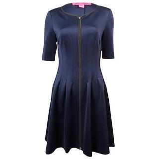 Betsey Johnson Women's Zipper Front Half Sleeve Flare Dress