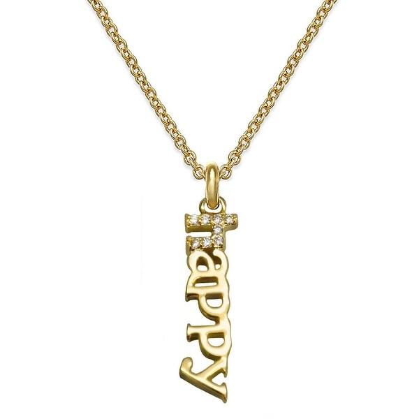 """Julieta Jewelry CZ Happy Gold Charm 16"""" Necklace"""