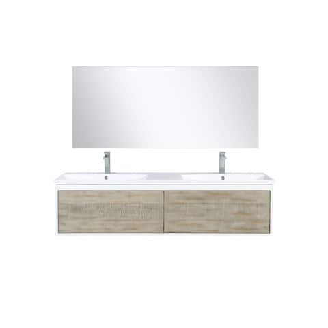 Lexora Scopi 60 inch Double Vanity, 55 inch frameless Mirror w/ Faucet
