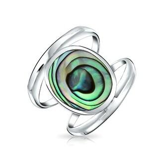 Bling Jewelry Bezel Set Modern Abalone Shell Double Band Ring 925 Silver