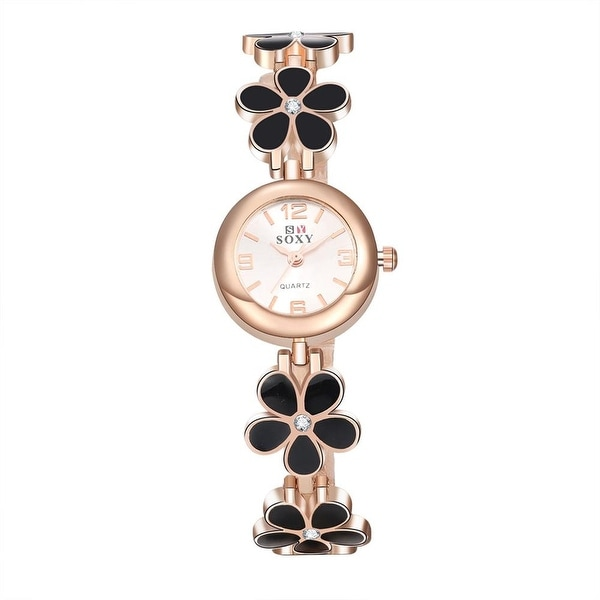 Rose Gold Onyx Clover Inspired Watch - Off White