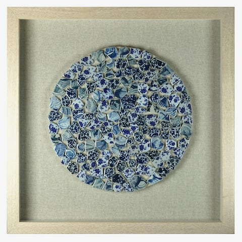 HUJI Blue Shattered Ceramic Plate Shadow Box Wall Decor