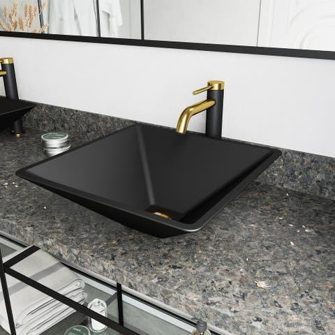 VIGO Black Serato MatteShell Vessel Bathroom Sink and Lexington cFiber Faucet in Matte Brushed Gold and Matte Black