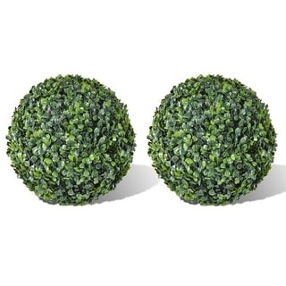 Online Gym Shop CB18565 Boxwood Ball Artificial Leaf Topiary Ball - 13.8 in. - 2 Piece
