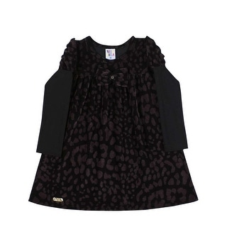 Toddler Girl Long Sleeve Dress Polka Dot Little Girl Pulla Bulla 1-3 Years Black
