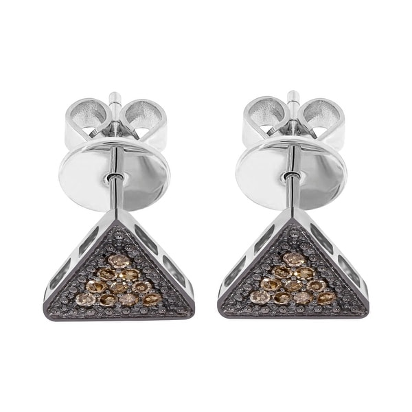 14k White Gold Prism Jewel Natural Brown Diamond Triangle Shaped Push Back Stud Earrings