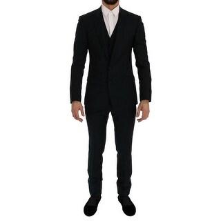 Dolce & Gabbana Blue Wool MARTINI 3 Piece Slim fit Suit