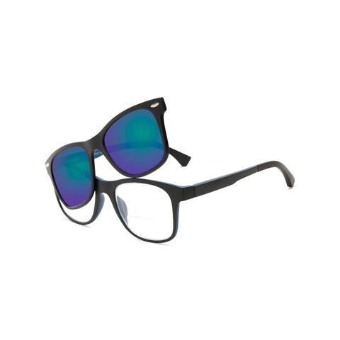 Readers.com The Ferris Polarized Magnetic Bifocal Reading Sunglasses Retro Square Reading Glasses