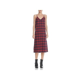 PPLA Womens Slip Dress Midi Plaid