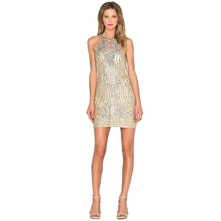Parker Black Sansa Embellished Sequined Halter Cocktail Dress