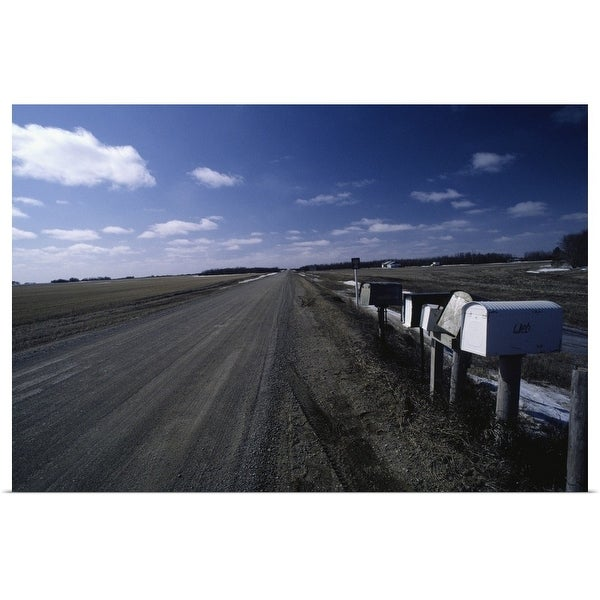 """""""Country mailboxes by road, Saskatchewan, Canada"""" Poster Print"""
