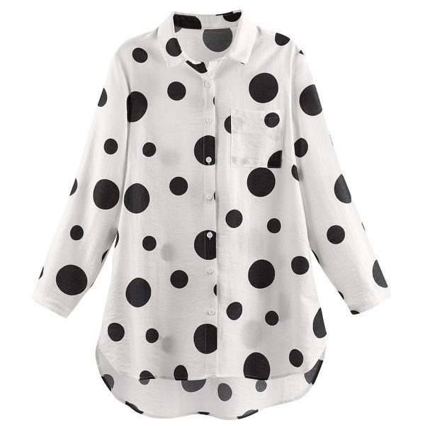 dc2e70b3b5e Shop Helens Heart Women's Polka Dot Big Shirt - Black and White Button Up  Tunic Top - On Sale - Free Shipping Today - Overstock - 27464595