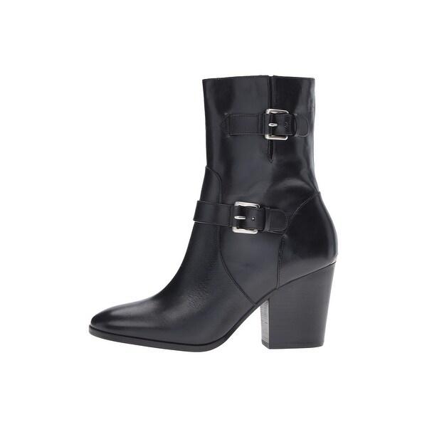MICHAEL Michael Kors Womens Ashton Mid Leather Closed Toe, Black, Size 5.5