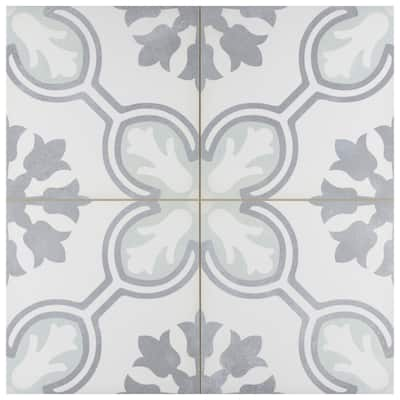 """SomerTile Amberley Orchid Mint 17.75"""" x 17.75"""" Porcelain Floor and Wall Tile"""
