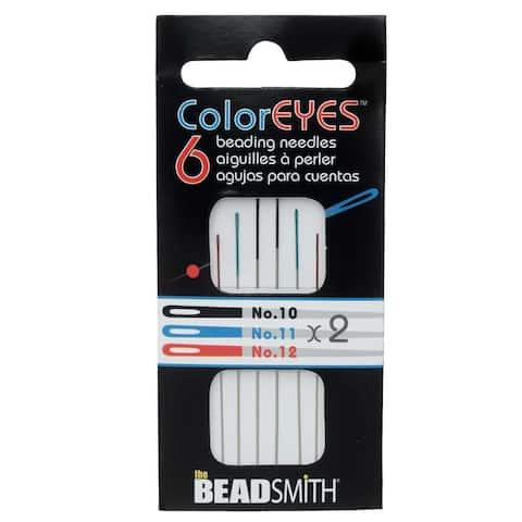BeadSmith ColorEYES Beading Needles, Size 10, 11, 12 , 1 Pack of 6, Assorted