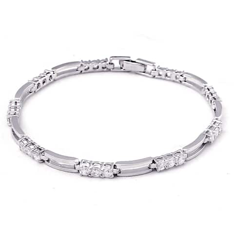 Cubic Zirconia Sterling Silver Round Eternity Bracelet by Orchid Jewelry