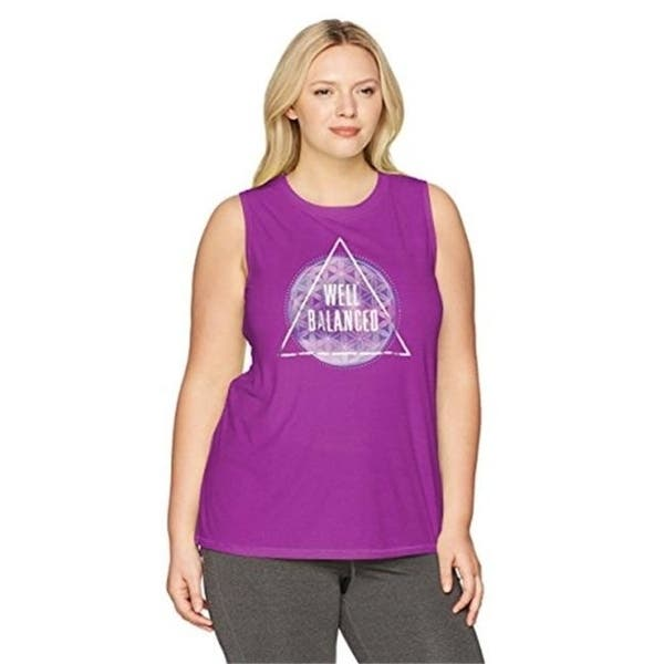Just My Size Womens Plus Size Active Graphic Muscle Tank