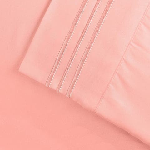 Superior Wrinkle-resistant Embroidered Microfiber Deep Sheet Set
