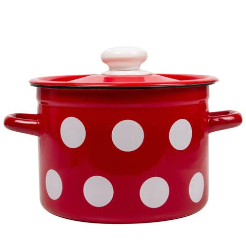 STP Goods 2.1-qt Red White Polka-dot on Steel Pot