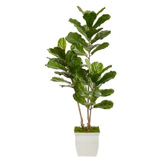 """Link to 5.5' Fiddle Leaf Artificial Tree in White Metal Planter UV Resistant - 11.5"""" Similar Items in Decorative Accessories"""