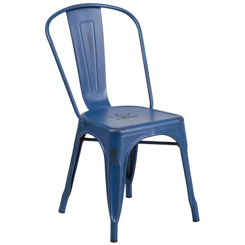 Distressed Antique Blue Metal Indoor-Outdoor Stackable Chair - Kitchen Furniture