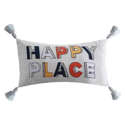 Novogratz Happy Place Blue Throw Pillow