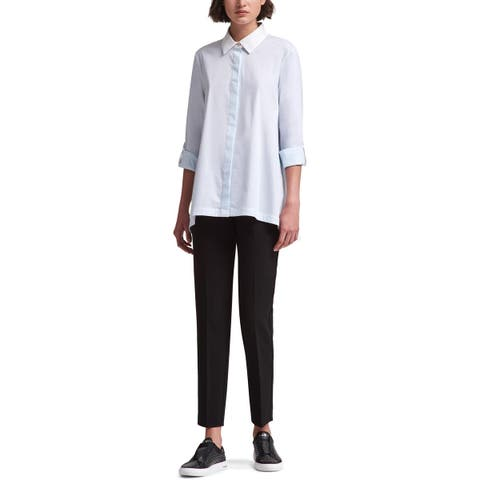 DKNY Womens Polished Nature Button-Down Top Collar Cuff Sleeves