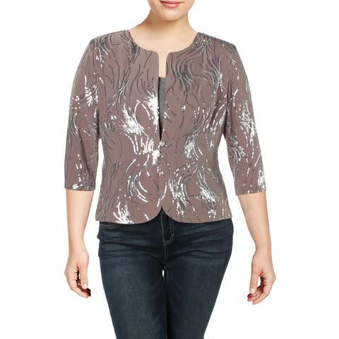 Alex Evenings Womens One-Button Blazer Sequined 3/4 Sleeves - 16