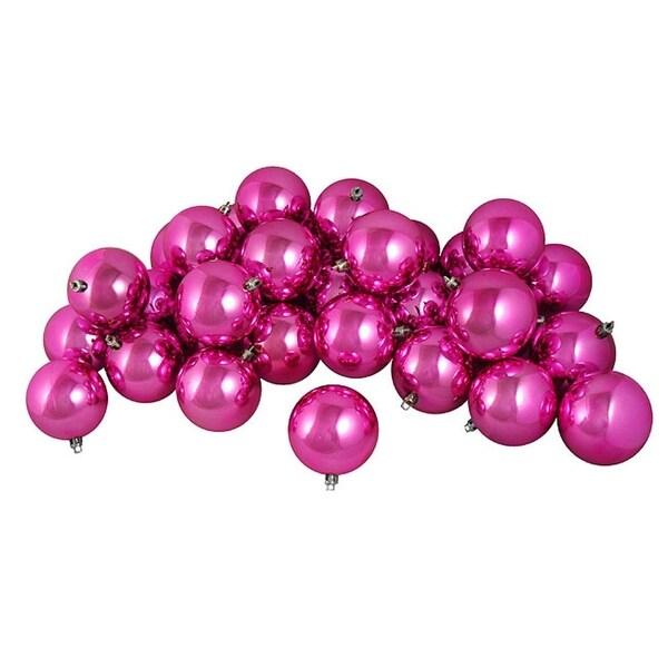 "32ct Shiny Magenta Pink Shatterproof Christmas Ball Ornaments 3.25"" (80mm)"