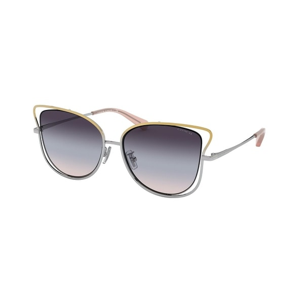 Coach HC7106 9338U7 55 Shiny Rose Gold/shiny Silver Woman Irregular Sunglasses - Pink / Silver. Opens flyout.