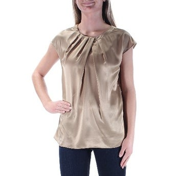 976168c3f629 Shop KASPER Womens New 1217 Gold Pleated Jewel Neck Short Sleeve Top XS B+B  - Free Shipping On Orders Over  45 - Overstock.com - 21266719