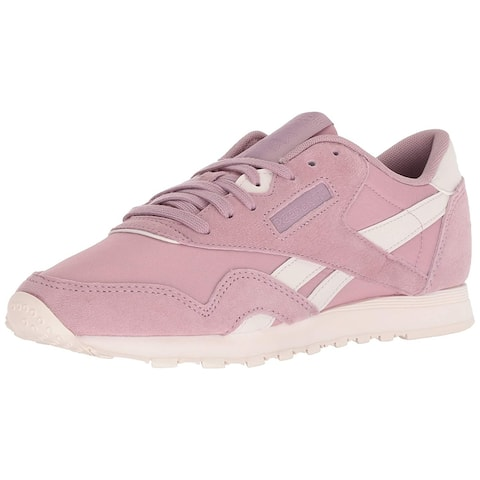 c9438ee87 Reebok Womens Classic Nylon Leather Low Top Lace Up Fashion Sneakers