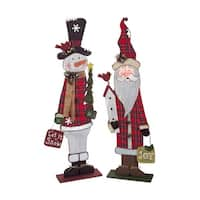 "Set of 2 Santa Claus and Snowman Multicolored Standing Christmas Decorations 41.25"" - RED"