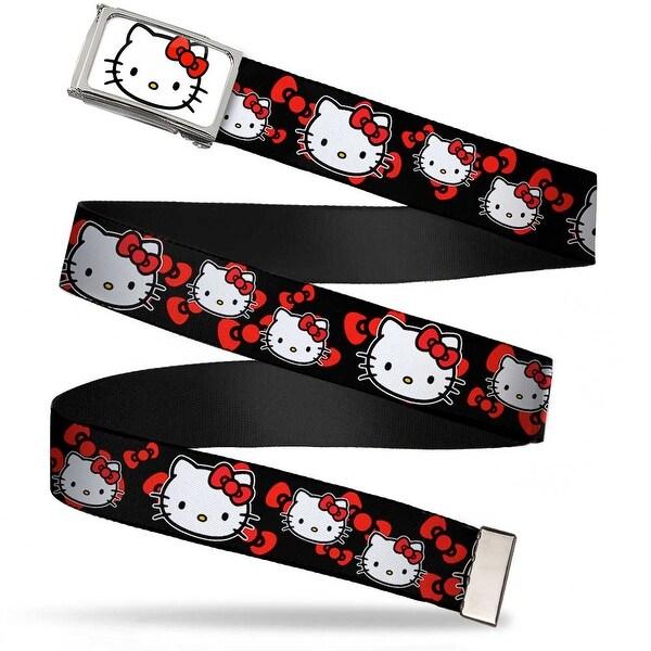 Hello Kitty Face Fcg White Chrome Hello Kitty Multi Face W Bows Black Web Belt