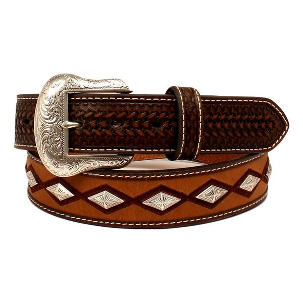 Nocona Western Belt Mens Stitching Diamond Conchos Brown