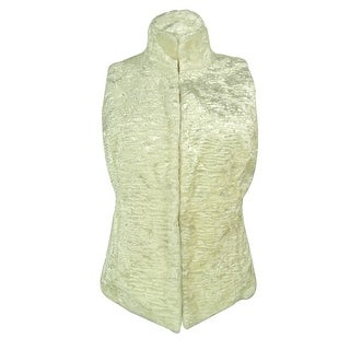 Ralph Lauren Women's Quilted Faux Fur Reversible Vest - modern cream