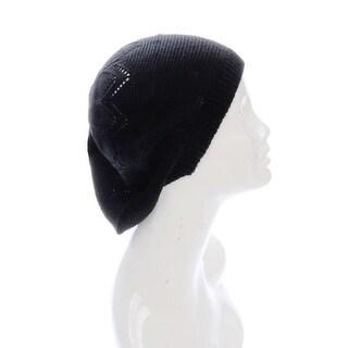 Black Slouchy Beanie Beret Hat Chevron Open Knit