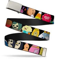 "Blank Chrome 1.0"" Buckle Adventure Time Characters1 Black Webbing Web Belt 1.0"" Wide - S"