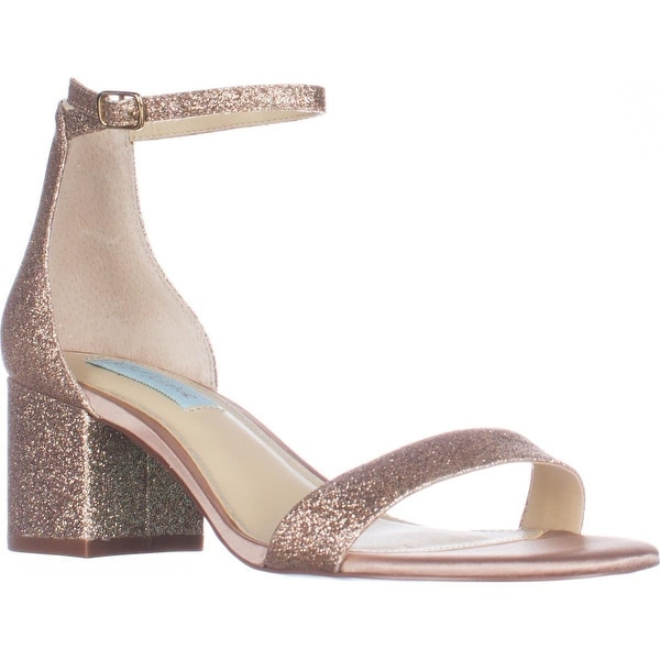 Blue Betsey Johnson Miri Ankle Strap Evening Sandals, Champagne Glitter