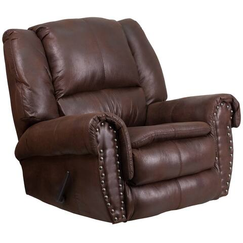 Contemporary Brown Faux Leather Motion Recliner