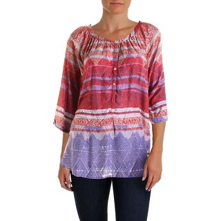 Beach Lunch Lounge Womens Printed Elbow Sleeves Casual Top