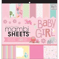 "MAMBI Specialty Cardstock Pad 12""X12"" 48/Pkg-Baby Girl Animals"