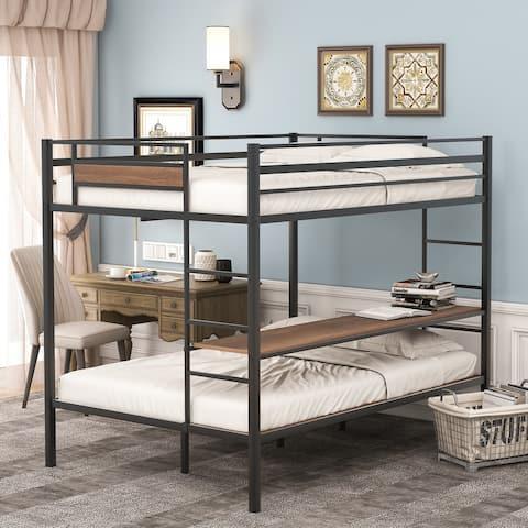 Nestfair Full over Full or Twin Metal Bunk Bed with Shelves