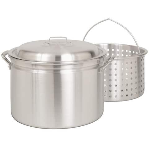 Bayou Classic 24-Qt Aluminum Stockpot with Steamer Basket